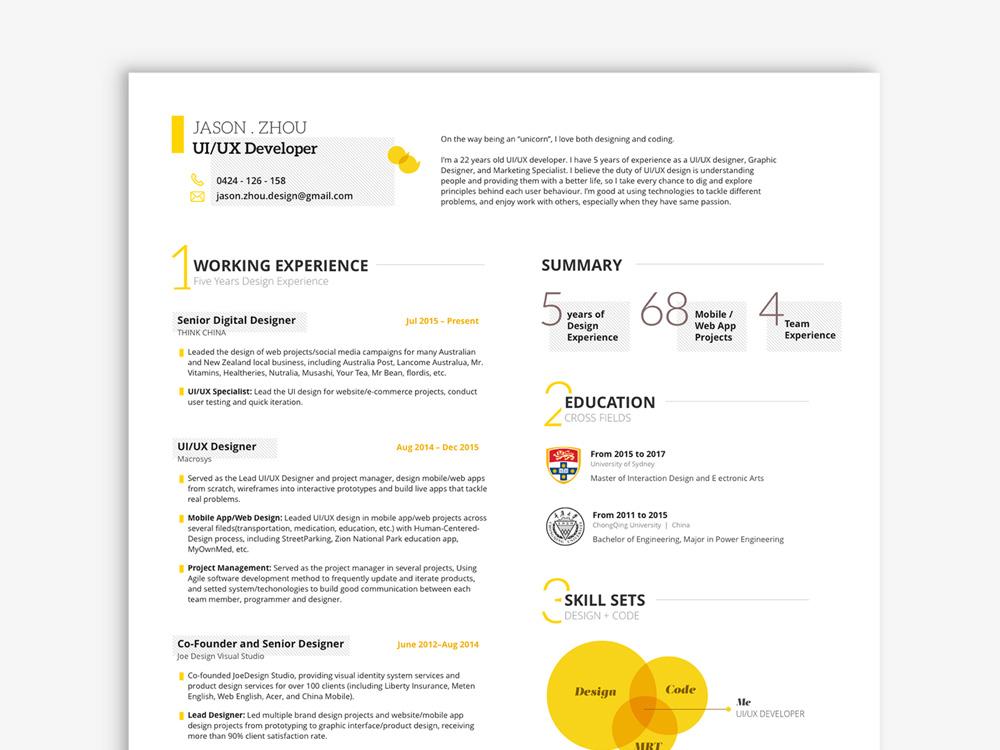 free ui  ux resume template in sketch file format