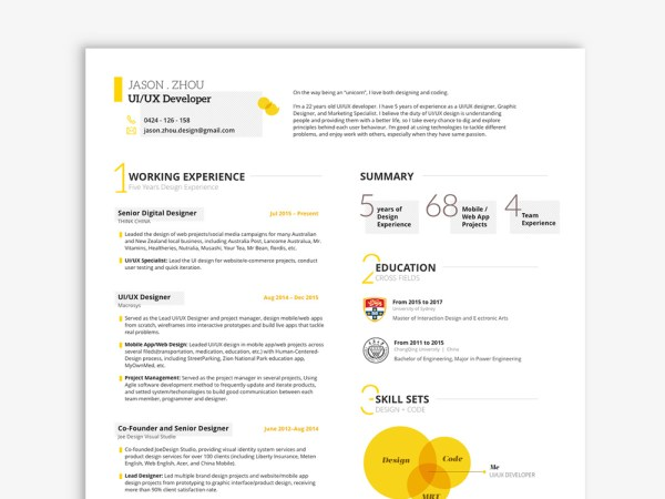 Free UI/UX Resume Template in Sketch File Format