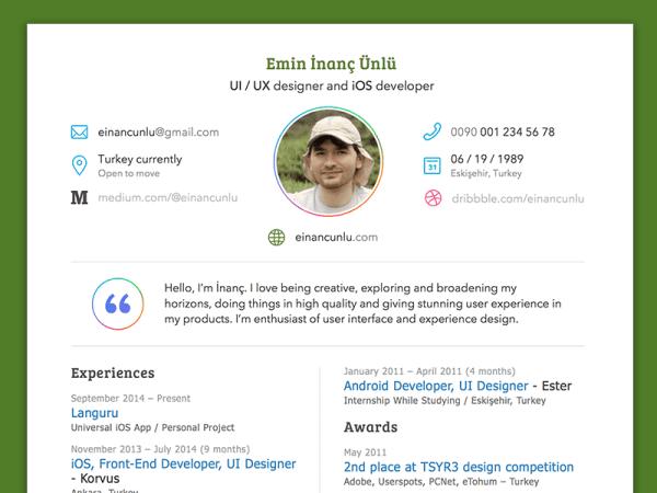 Free Sketch Resume Template For Developer