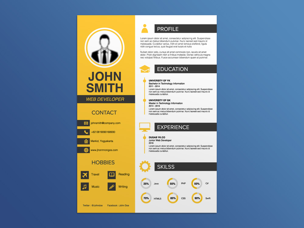 free creative curriculum vitae template for job seeker