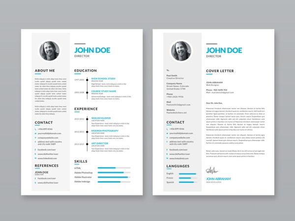 Free Simple Resume Template with Portfolio and Cover Letter