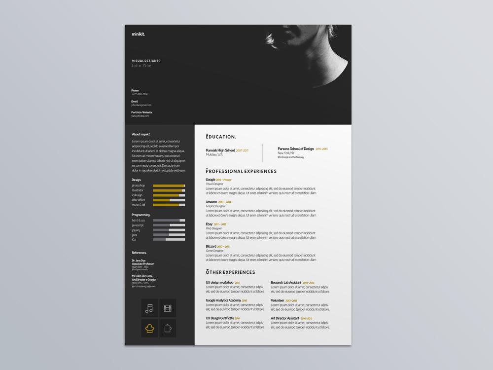 Free Visual Designer Resume Template for Job Seeker