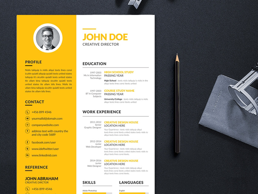 Free Yellow Resume Template with Creative Design