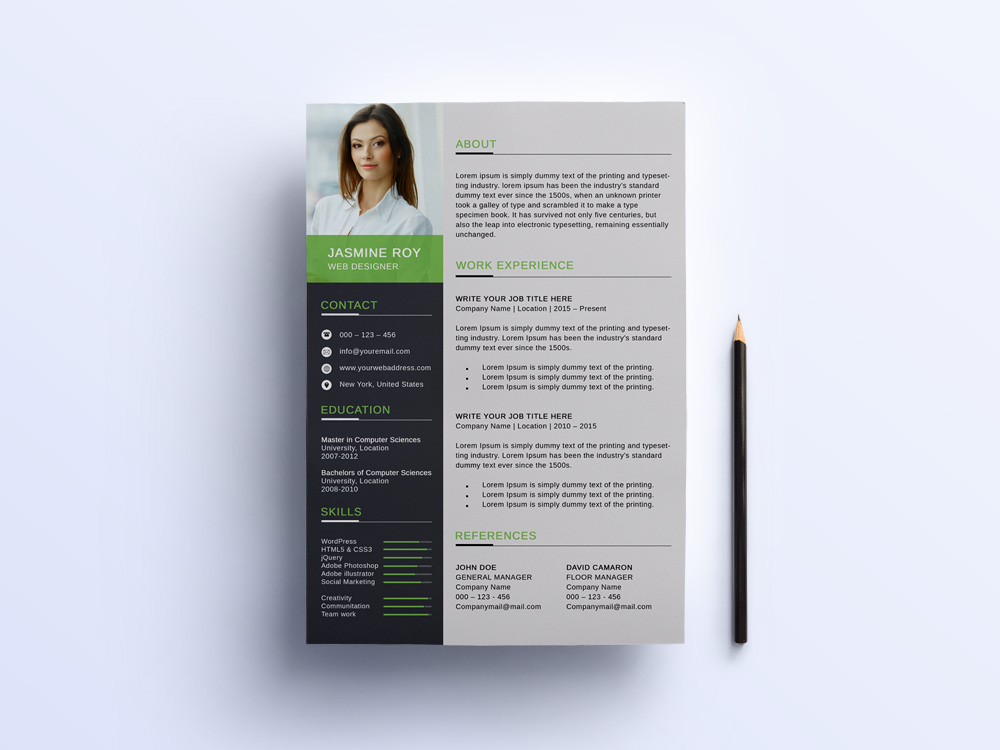 Free Clean CV Template with Formal Style Design