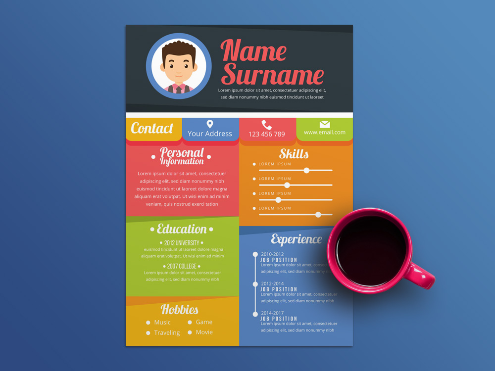 Free Colorful Resume Template In Illustrator File Format To Help You Land That Great Job All Elements Can Be Customised Perfectly Fit Your Needs
