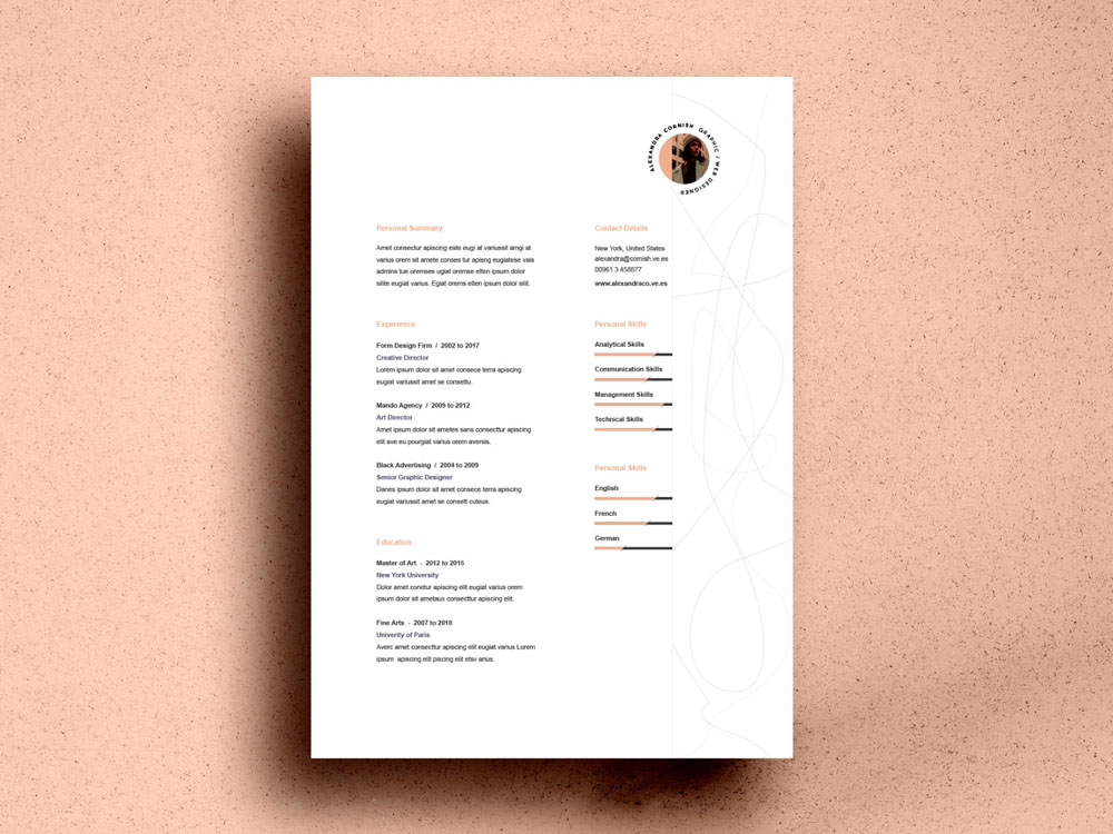 Free Resume Template with Simple Two Column Layout