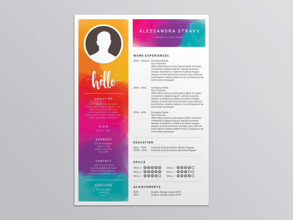 free colorful resume templates word