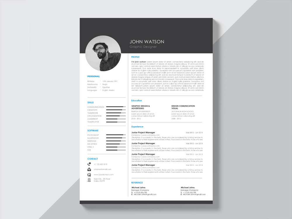 Free Creative Black and White Resume Template