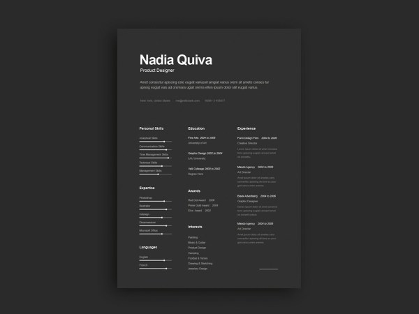 Free Elegant Dark Resume Template with Portfolio and Cover Letter