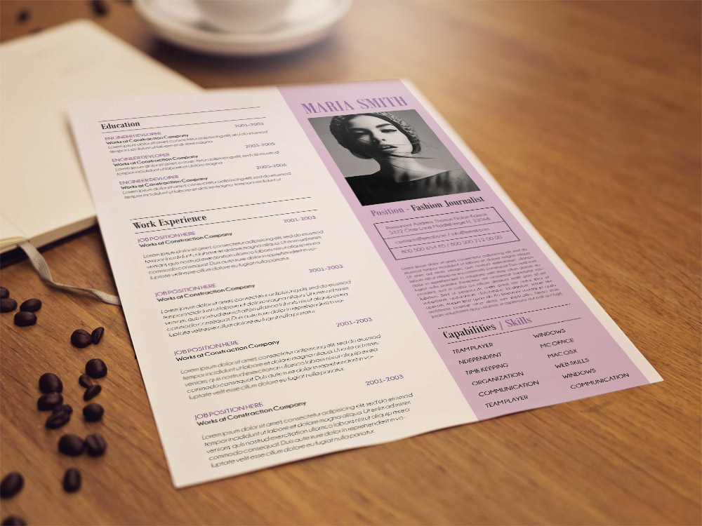 free journalist resume template in psd file format