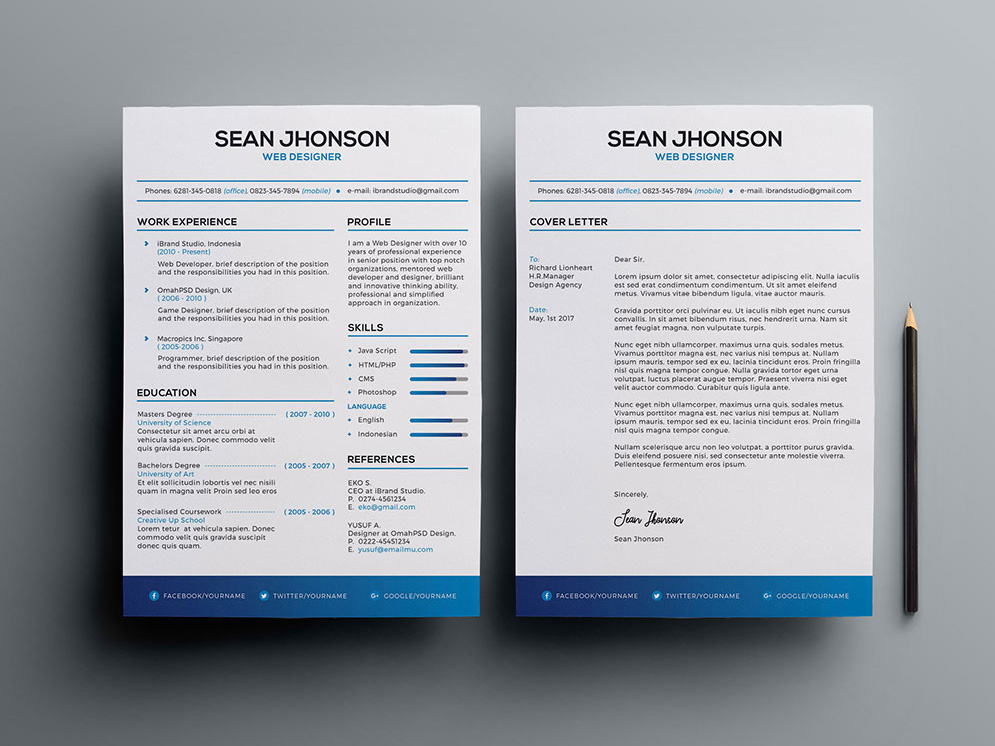 Free Resume and Cover Letter Template with Minimalist Style