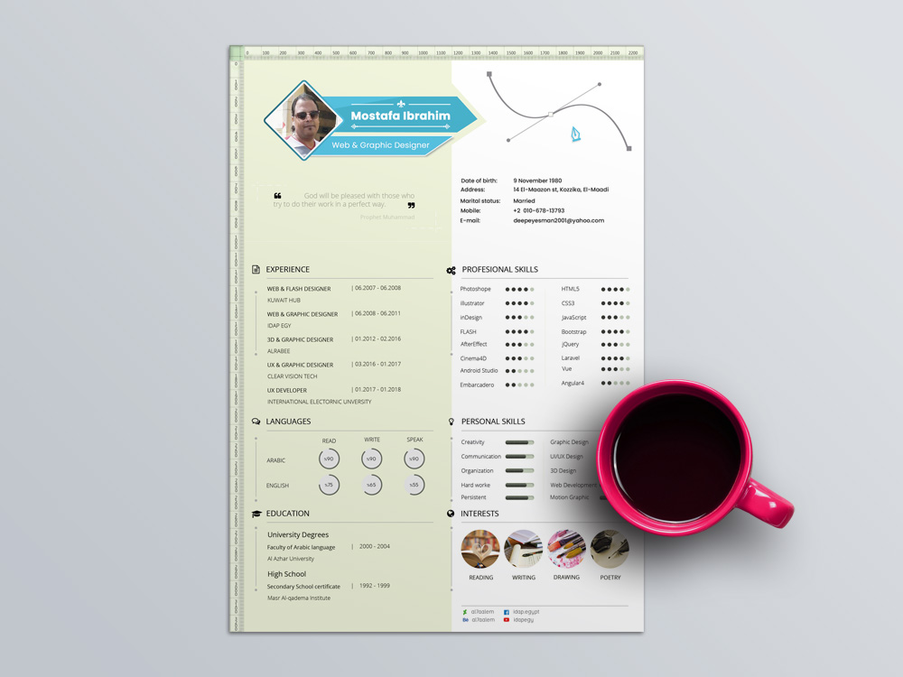 Free PSD Resume Template with Infographic Style Design