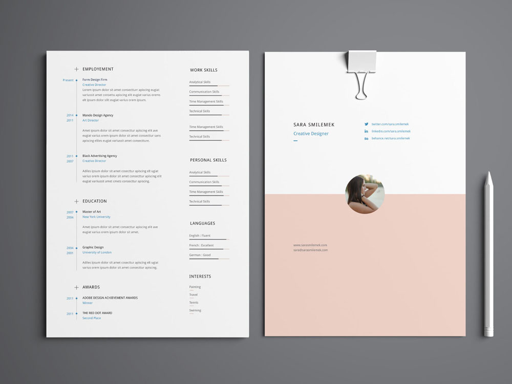 Smilemek - Free Resume Template with Cover Letter and Portfolio