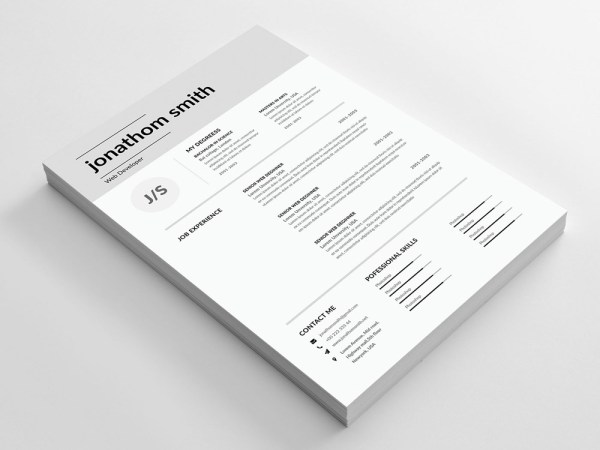 Free Resume Template with Simple and Elegant Design