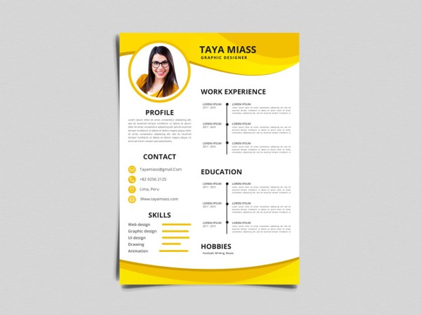 Free Yellow Timeline Resume Template For Job Seeker