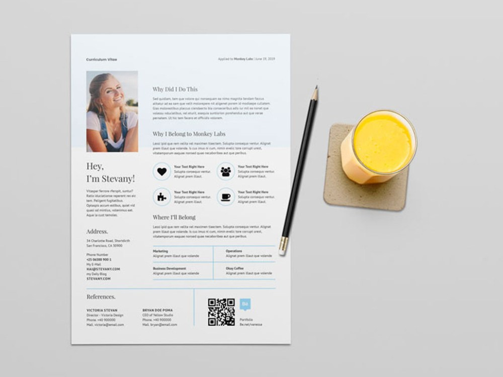 free qr code resume template with stylish design