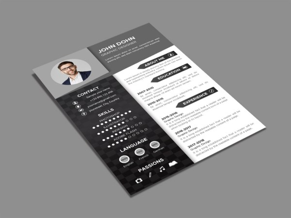 Free Black and White Resume Template with Elegant Design