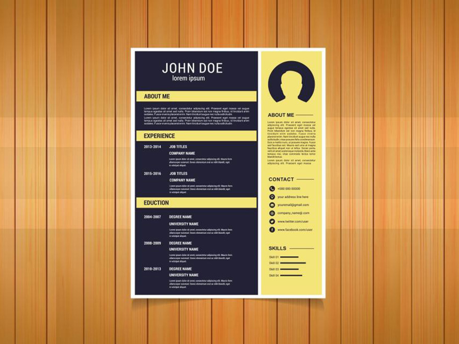Free Flat Resume Template with Yellow Color Scheme
