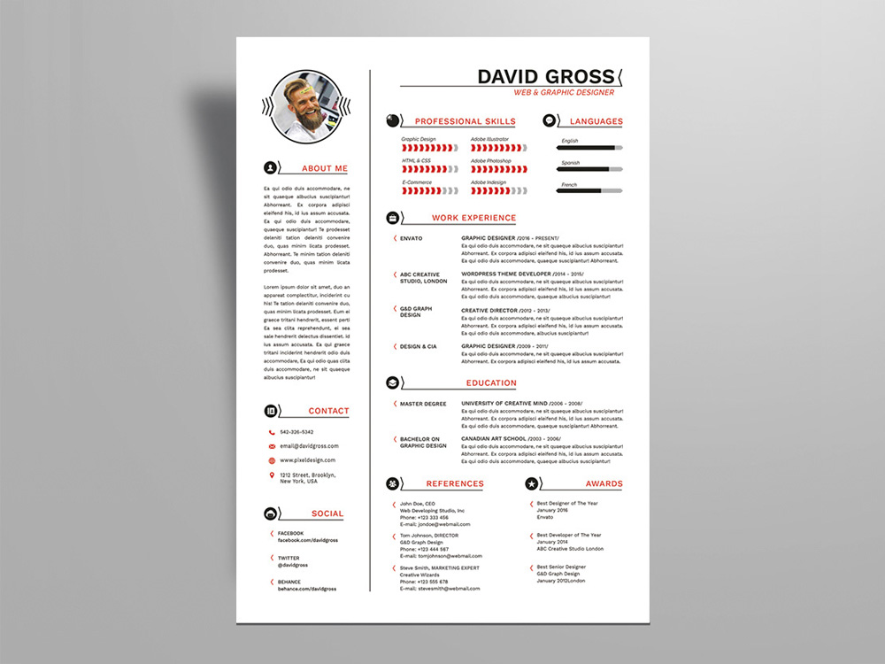 Gross Resume - Free Hipster Style Resume Template For Job ...