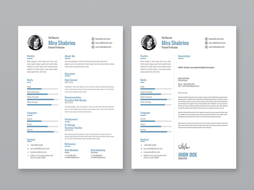 free simple illustrator resume template with cover letter