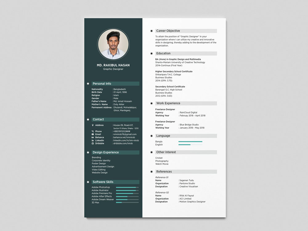 Hasan Resume - Free Simple Resume Template with Clean Design