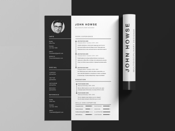 Free Clean CV Template with Cover Letter