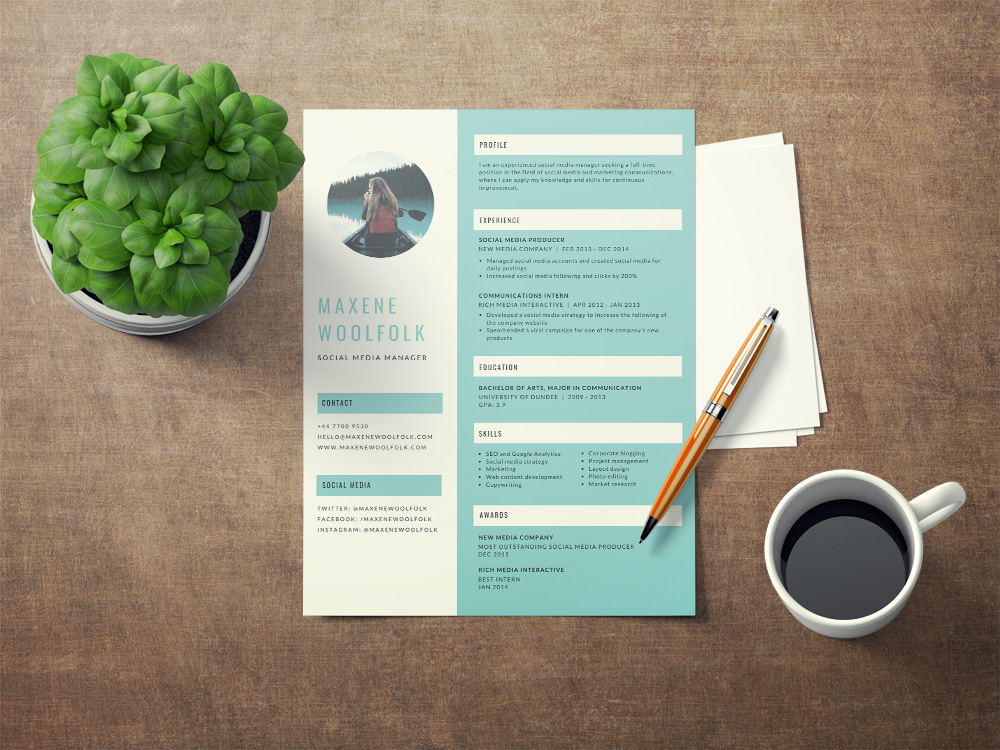 free creative resume template with blue color scheme