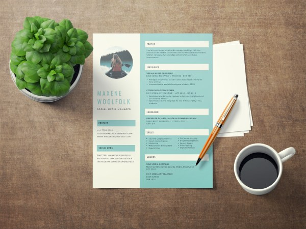 Free Creative Resume Template Blue Color Scheme