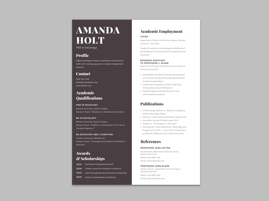 free academic resume template with formal design