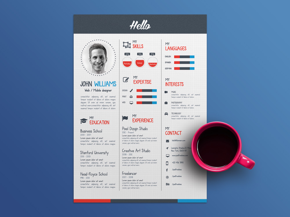 free creative infographic cv template for job seeker