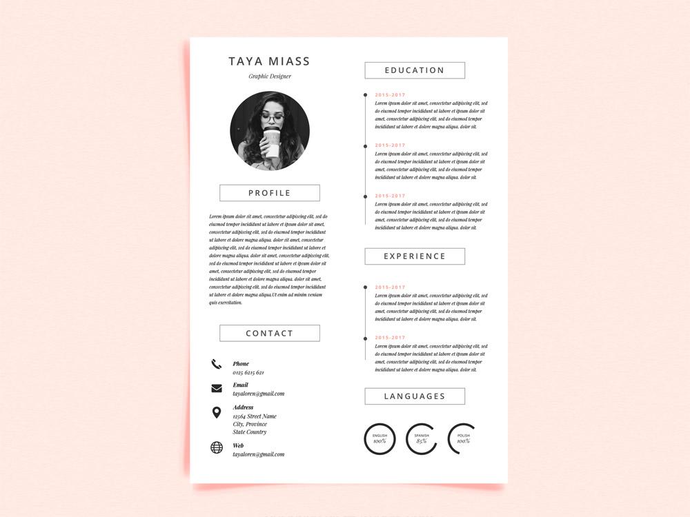 Miass Resume Free Curriculum Vitae Template With Minimalist Design