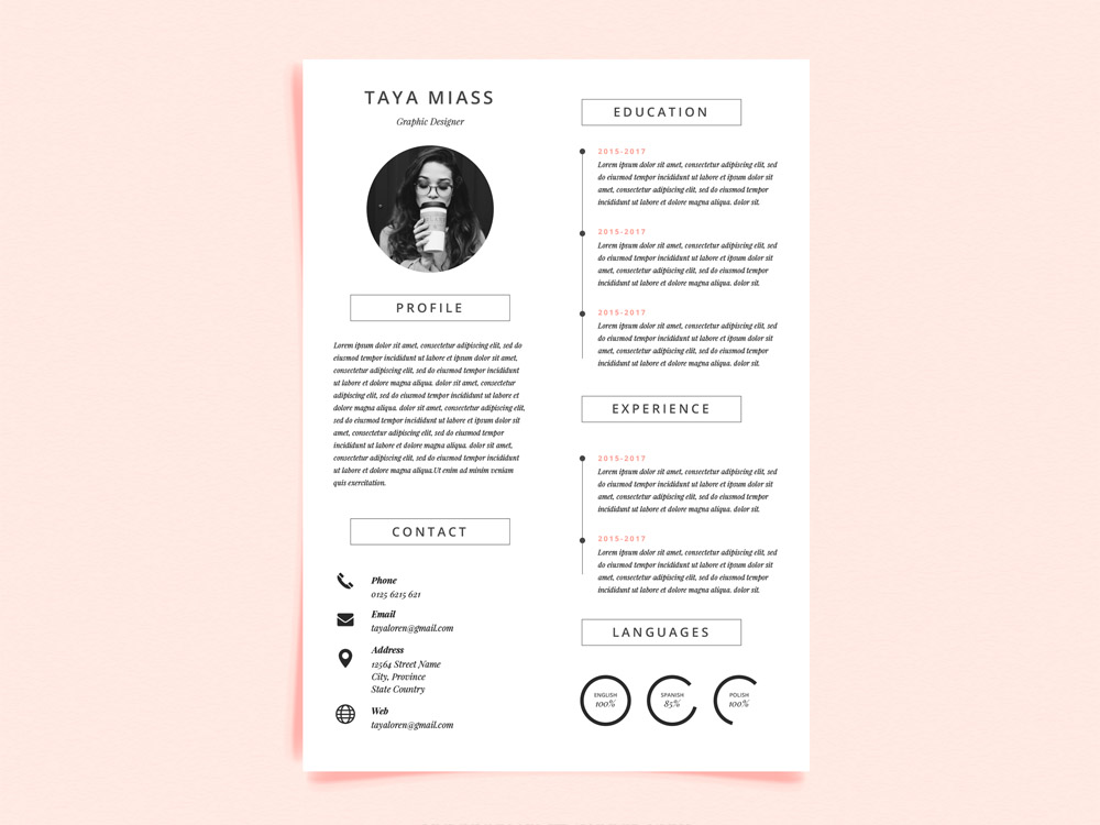 Free Curriculum Vitae Template with Minimalist Design