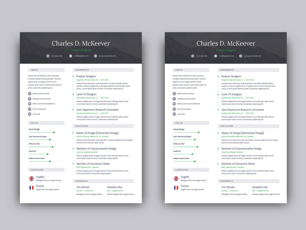 McKeever Is Free One Page Resume Template For Your Next Job Opportunity It Single With Simple Style Design In PSD File Format
