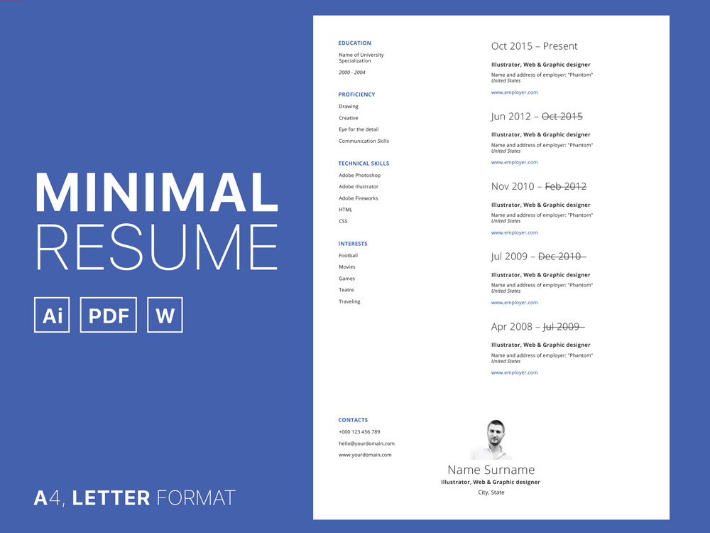 Free Simple CV Set Template in Multiple Format
