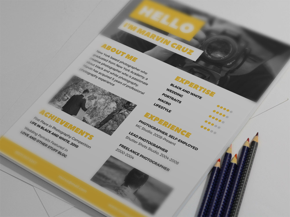 Free Yellow Photographer Resume Template With Clean Syle Design For Your Next Job Opportunity It Is A User Friendly Tempate That Will Help You Easily