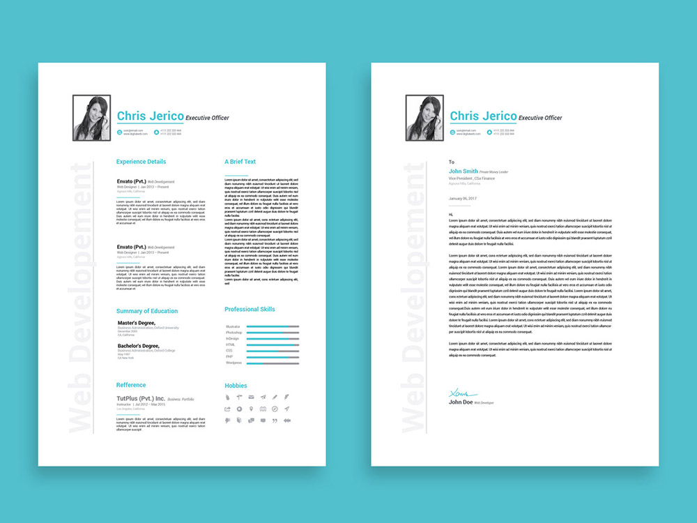 Free Executive Officer Resume Template with Cover Letter