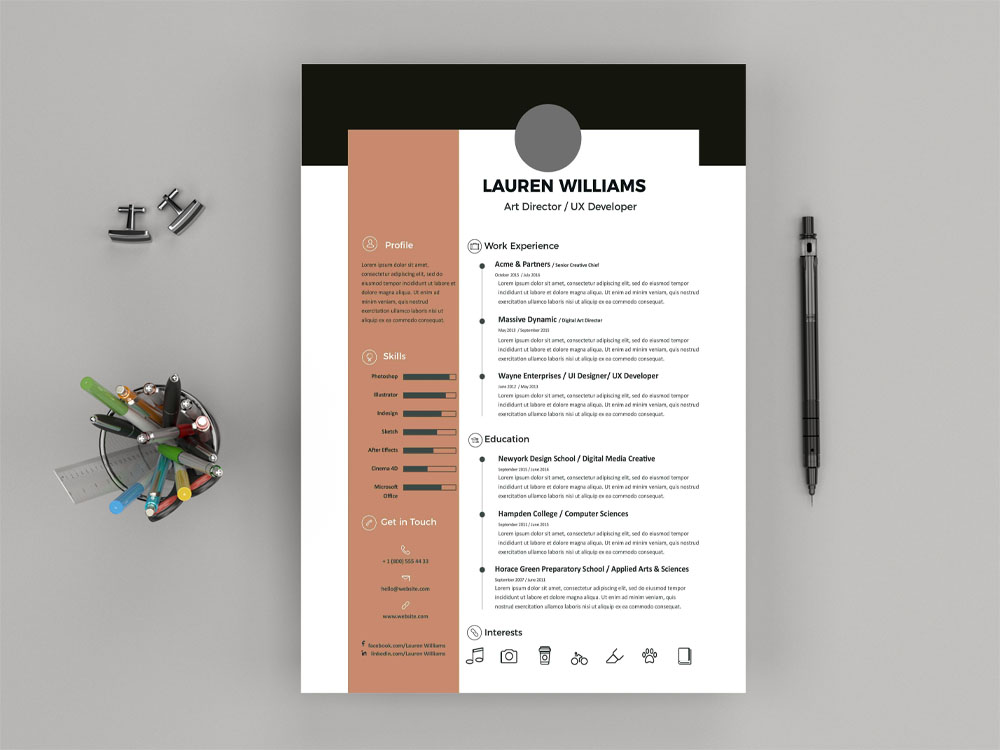 Lauren Resume Is Free Elegant Illustrator Template For Job Seeker With Clean And Simple Look These Are Fully Editable So