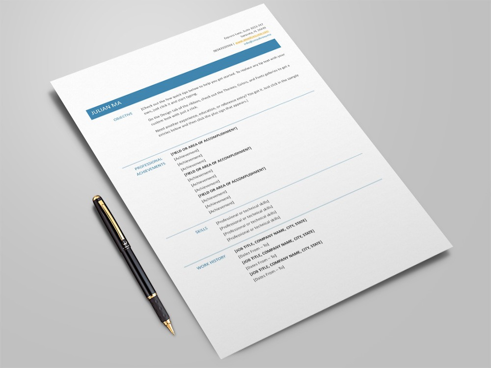 Free Microsoft Word Resume Template with Simple Functional Design