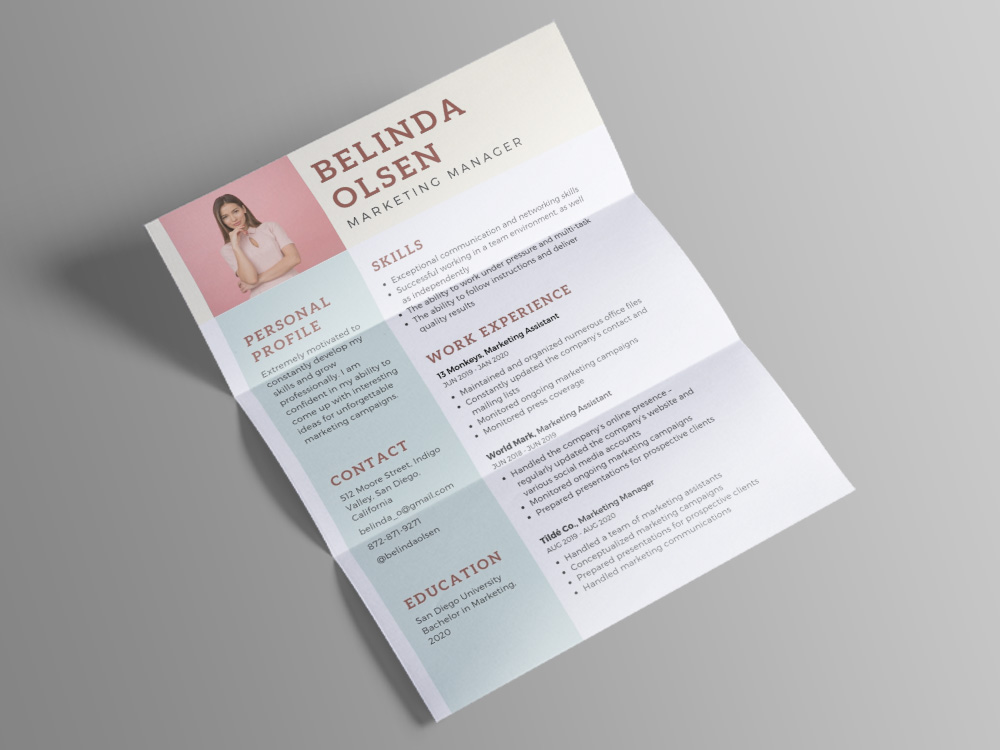 free marketing manager cv template with pastel color