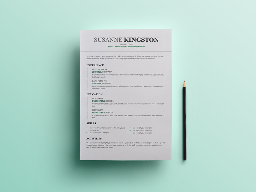 Chronological Resume Free Microsoft Word Resume Template