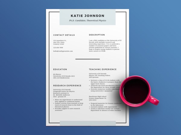 Free Scholarship Resume Template with Minimal Style Design