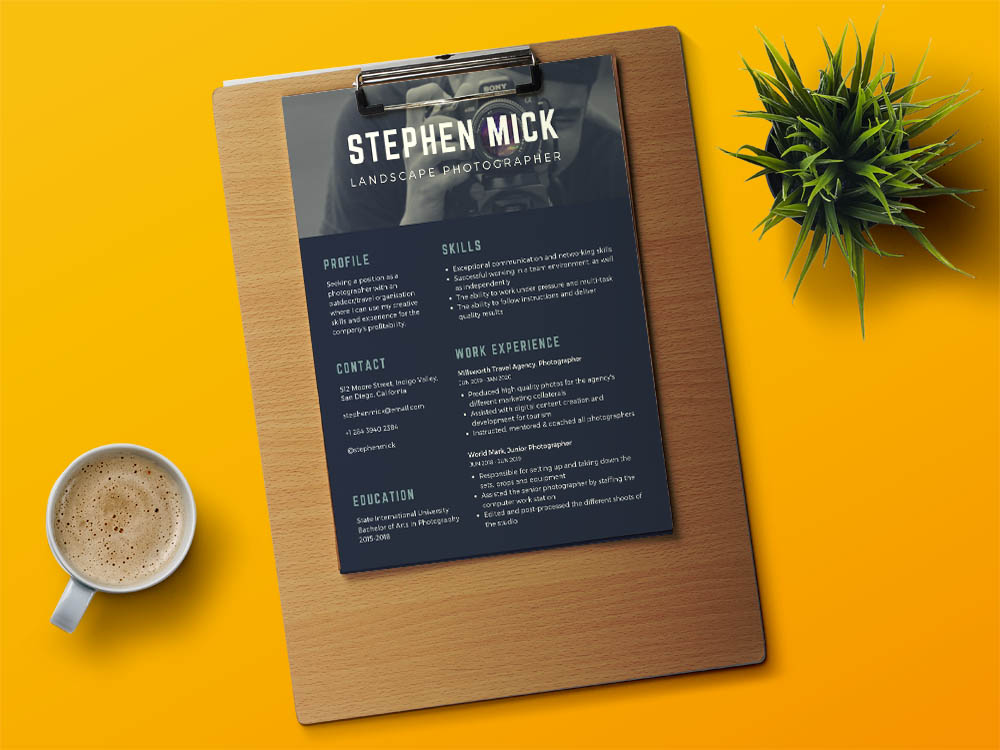 Free Photographer Resume Template with Modern Design