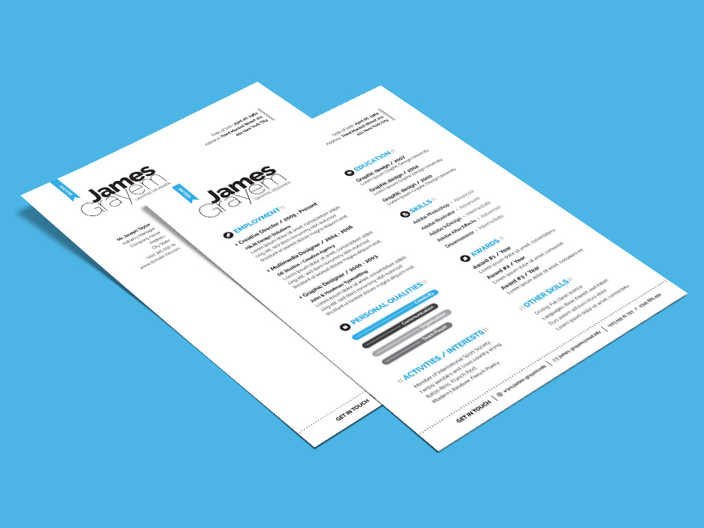 Free PSD Resume Template with Professional Look