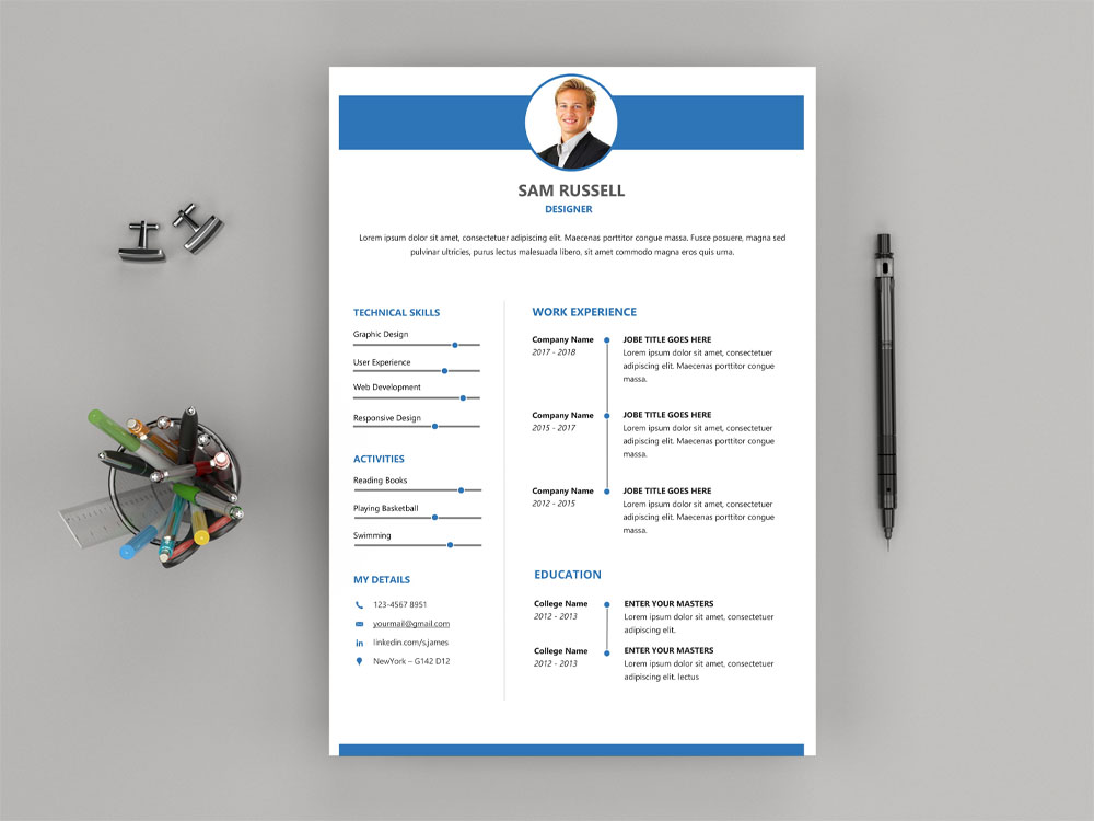 Russell Resume Free Modern Word Resume Template With Clean