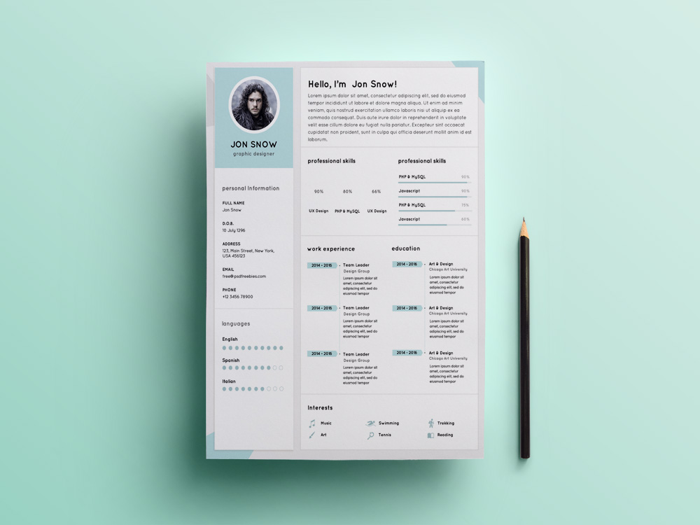 Free Clean Resume template with Professional Design