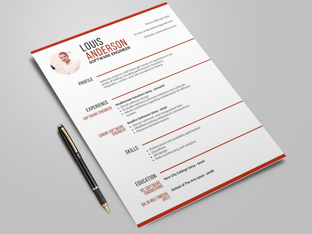 free software engineer resume template with professional look