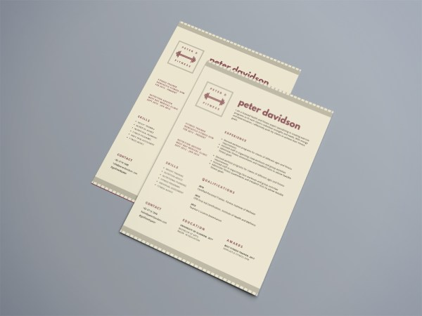 Free Simple Fitness Resume Template with Modern Design