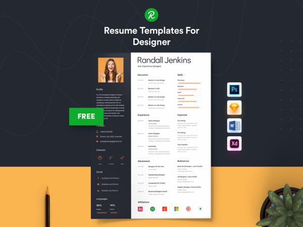 Free UI Designer Resume Template with Simple Style Design