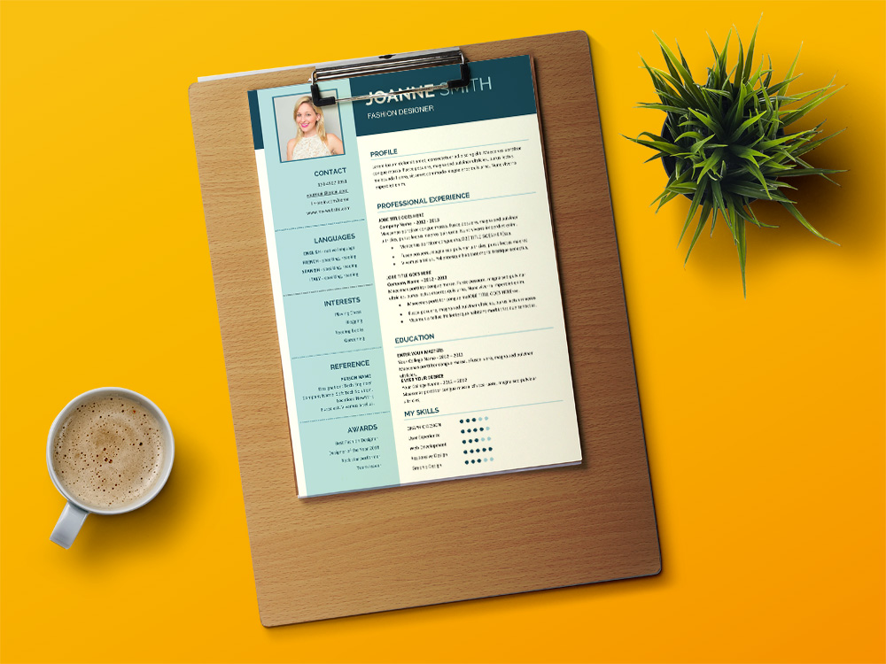 Free Fashion Designer Resume Template with Creative Design
