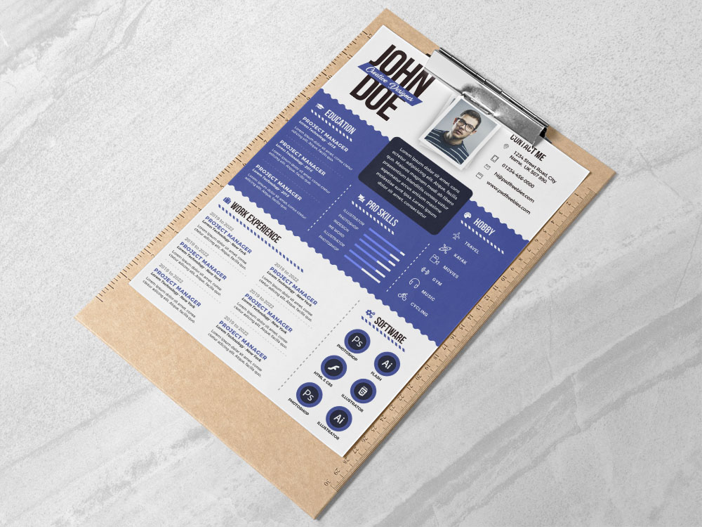 Here Is Free Graphic Designer Resume Template In PSD File Format With Clean And Professional LookHere You Can Get High Quality Creative Fully Adjustable